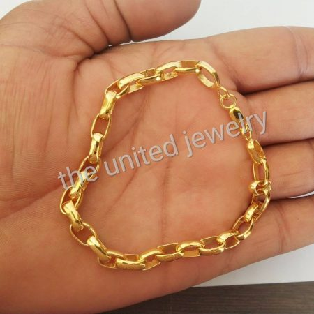 925 Sterling Silver Designer Link Chain Women's Handmade Bracelet Jewelry