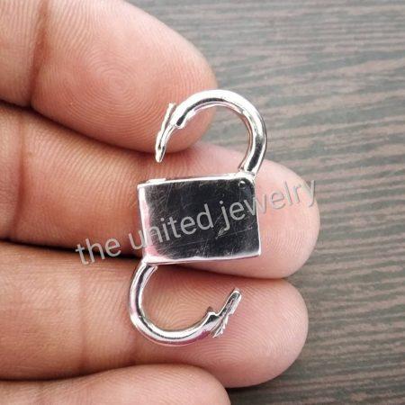 925 Sterling Plain Silver Padlock Necklace Bracelet Lock Jewelry