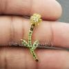 14k Solid Yellow Gold Designer Flower Leaf Shape Tsavorite Gemstone Natural Yellow Sapphire Pave Diamond Ear Jacket 1 Piece Jewelry