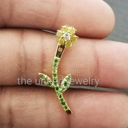14k Solid Yellow Gold Designer Flower Leaf Shape Tsavorite Gemstone Natural Yellow Sapphire Pave Diamond Ear Jacket 1 Piece Jewelry