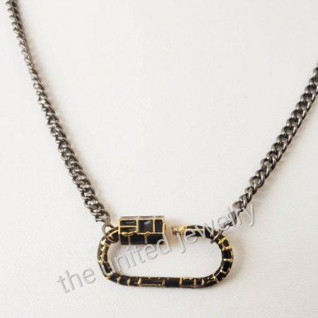 Black Enamel Carabiner Lock With 18 inch 925 Sterling Silver Handmade Link Chain Black Rhoudium Designer Necklace Jewelry Wholesale