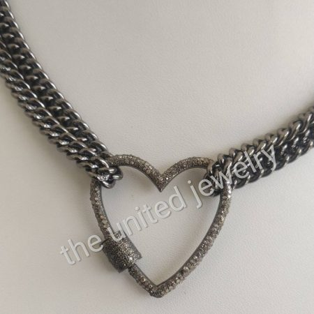 30mm Heart Diamond Carabiner Lock With Double Chain 925 Sterling Silver Handmade Link Chain Black Rhoudium Designer Necklace Jewelry