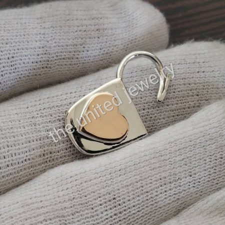 14k Rose Gold Heart With Silver Padlock Handmade Padlock Jewelry Manufacturer
