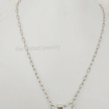 Dog Bone Carabiner Lock With 18 inch 925 Sterling Silver Handmade Link Chain Black Rhoudium Designer Necklace Jewelry Wholesale