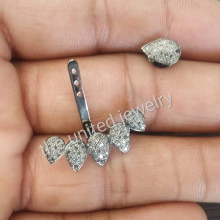 925 Sterling Silver Designer Pave Diamond Setting Handmade Pear Shape Natural Diamond Ear Cuff Jewelry
