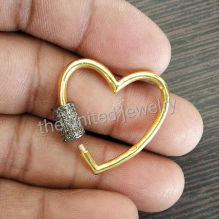 30mm Yellow Gold Plating Pave Diamond Heart Shape Carbiner Lock 925 Sterling Silver Natural Pave Diamond Jewelry