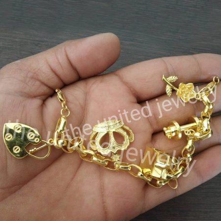 925 Sterling Silver Designer Link Chain Flower Leaf Padlock Crown Five Charms Women's Handmade Bracelet Jewelry