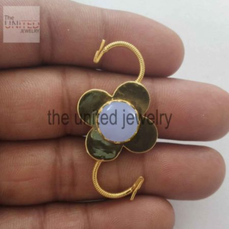 Chalcedony Padlock 925 Sterling Silver Floral Shape Padlock Jewelry Supplier in india