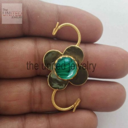 Malachite Natural Gemstone Floral Shape Handmade Padlock Jewelry Manufacturer Padlock 925 Sterling Silver Jewelry Manufacturer And Supplier