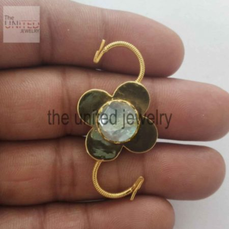 Handmade Padlock 925 Sterling Silver Labradorite Gemstone Floral Shape Padlock Jewelry Supplier