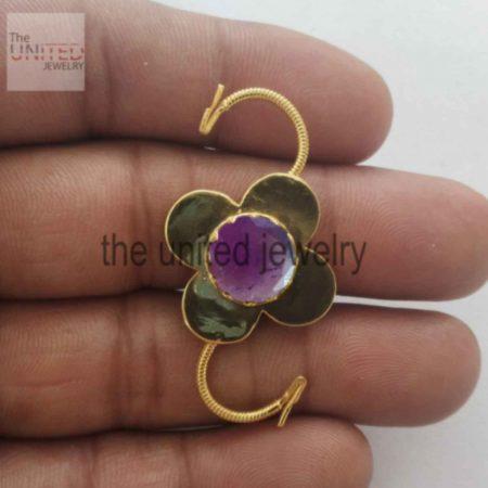Amethyst Padlock 925 Sterling Silver Floral Shape Padlock Jewelry Supplier