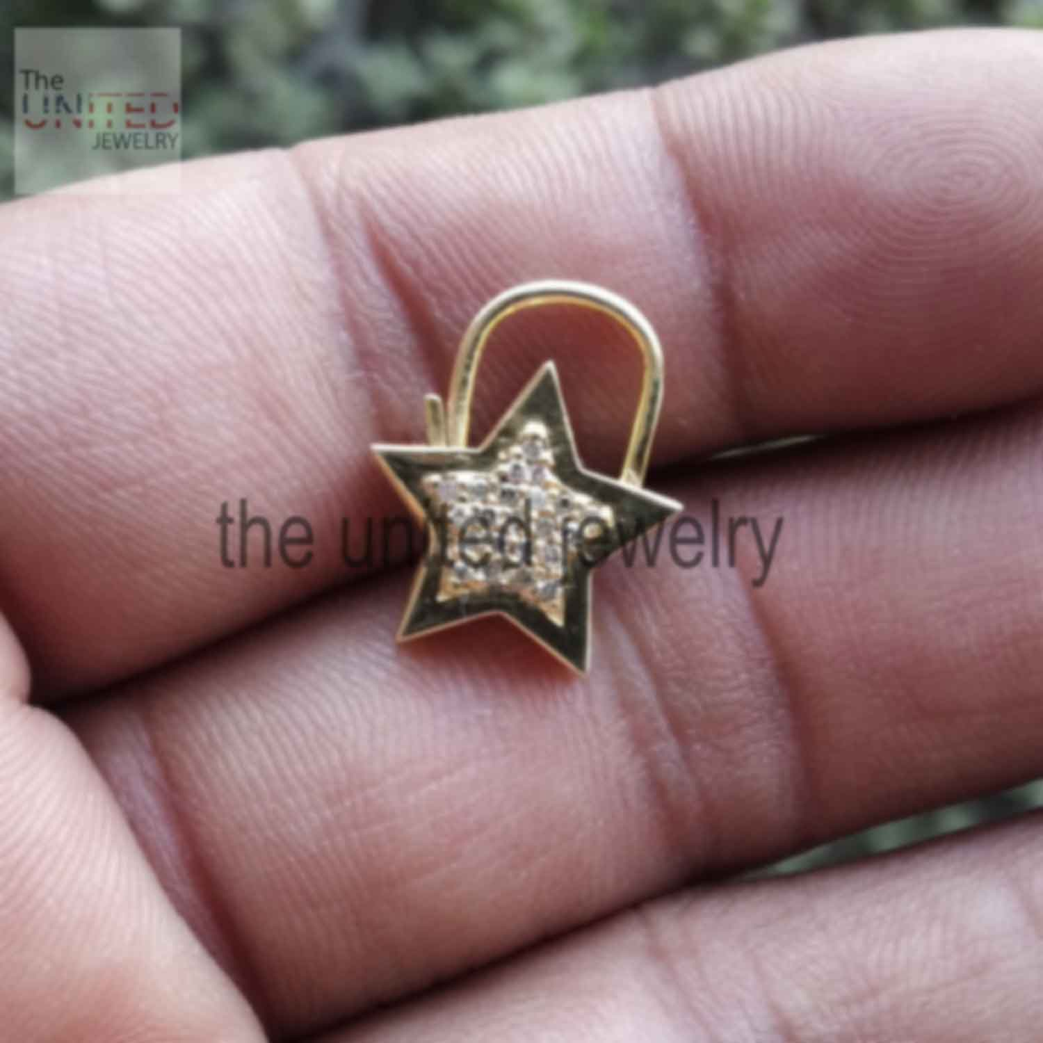 14k Solid Yellow Gold Star Shape Natural Pave Diamond Handmade Padlock Jewelry Manufacturer Jewelry Supplier India