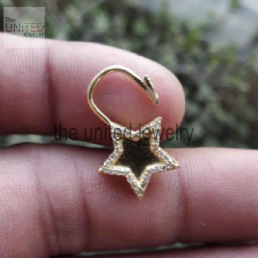 14k Solid Yellow Gold Star Shape Natural Pave Diamond Handmade Padlock Jewelry Manufacturer India