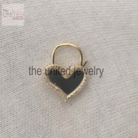 14k Solid Yellow Gold Heart Shape Natural Pave Diamond Handmade Padlock Jewelry Manufacturer India