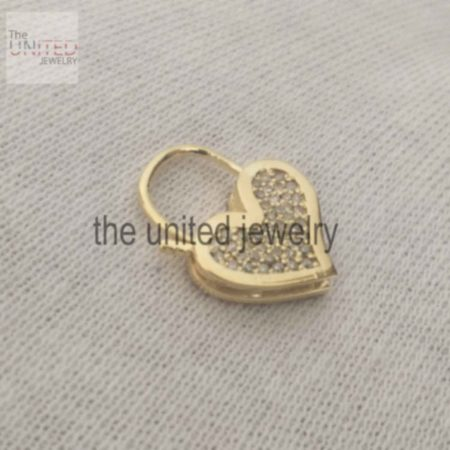 14k Solid Yellow Gold Heart Shape Natural Pave Diamond Handmade Padlock Jewelry Manufacturer