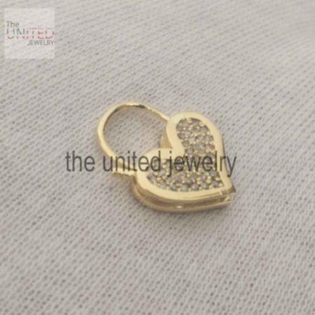 14k Solid Yellow Gold Heart Shape Natural Pave Diamond Handmade Padlock Jewelry Manufacturer