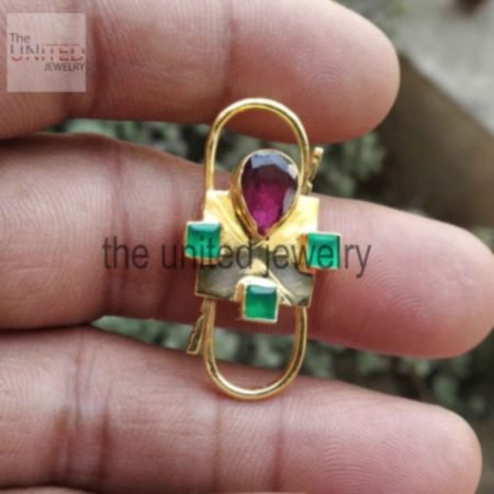 Emerald With Ruby Designer Handmade Padlock Women's Sterling Silver Jewelry Wholesale