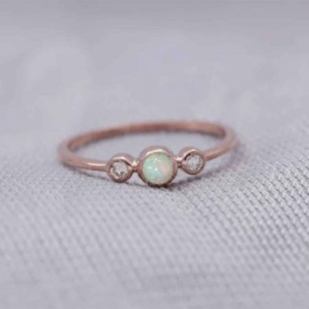 Genuine Ethiopian Opal Trio Ring with Natural Diamonds Bezel set in Solid 14k Gold Gift Jewelry