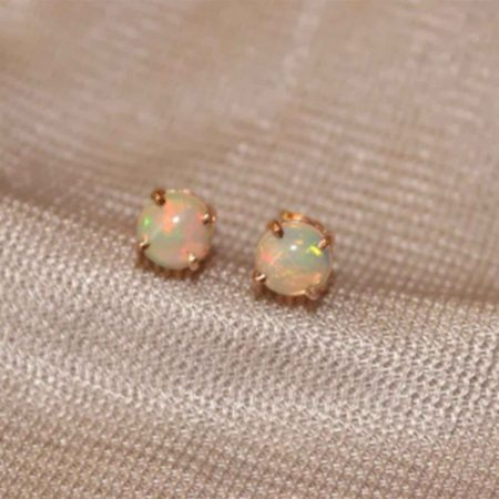 14k Yellow Gold Handmade Opal Gemstone Solitaire Stud Earring Jewelry