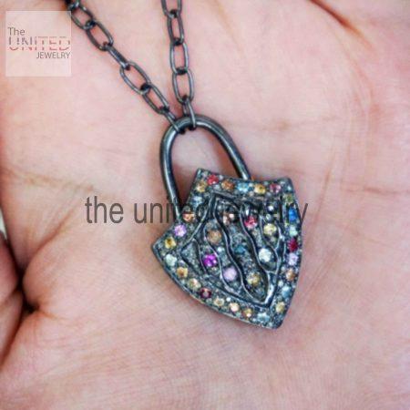Handmade Natural Pave Diamond Multi Sapphire Padlock Pendant 925 Sterling Silver Jewelry