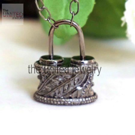 Handmade Pave Diamond Victorian Leaves Padlock Pendant Necklace 925 Sterling Silver Jewelry