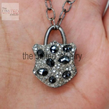 Handmade Natural Diamond Pave Black Spinel Padlock Pendant Necklace 925 Silver Jewelry Supplier in india