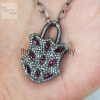 Ruby Gemstone Diamond Pave Designer Padlock Pendant Necklace 925 Silver Handmade Fine Jewelry