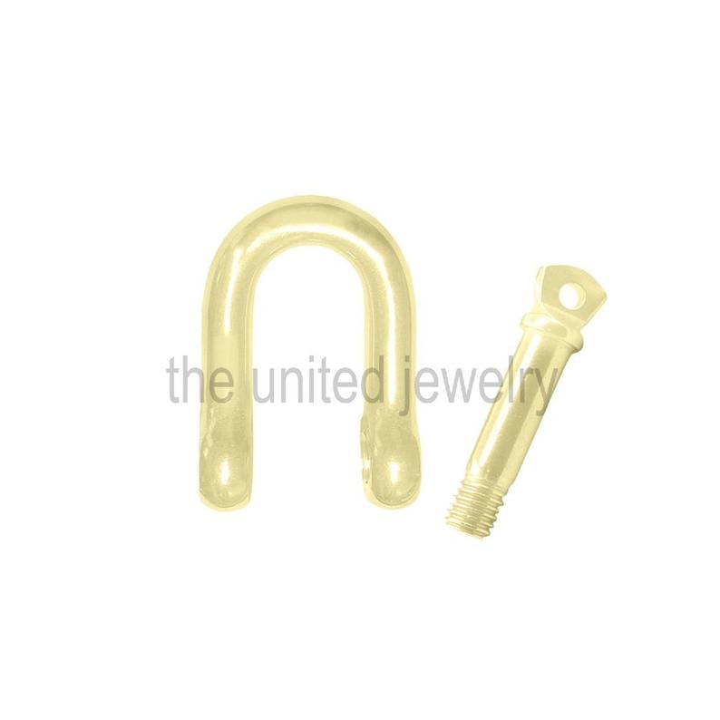 Yellow Gold Plating 925 Sterling Silver Plain Silver Shackle Clasp Lock Handmade Jewelry Manufacturer