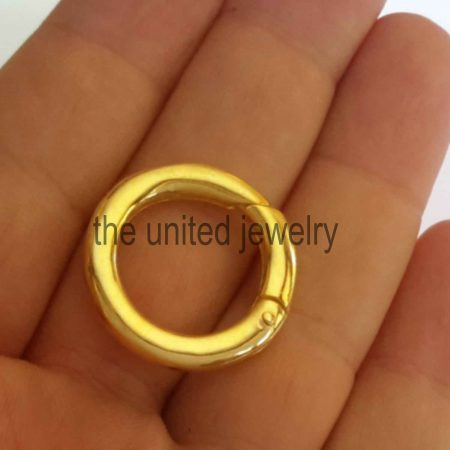 Yellow Gold Plating 925 Sterling Silver Round Clasp Lock Connector Jewelry