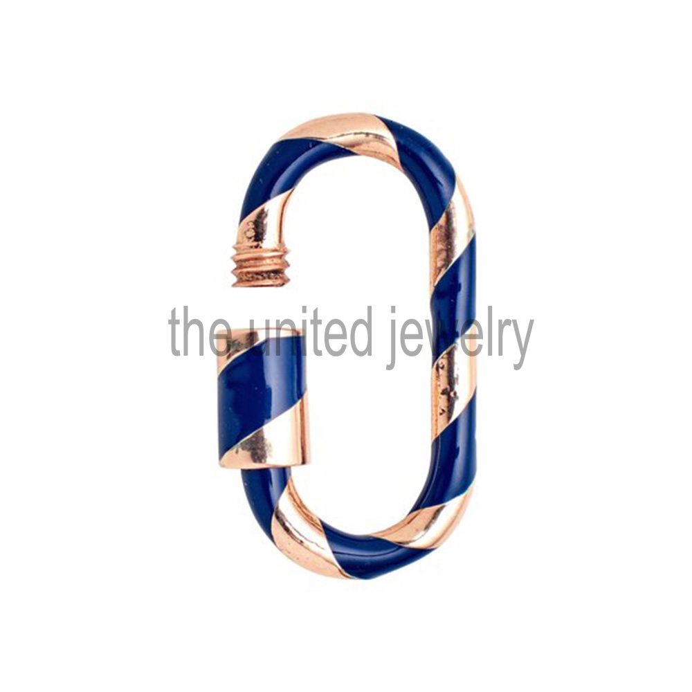 330mm Best Selling 925 Sterling Silver Nevy Blue Color Enamel Carabiner Lock, Handmade Carabiner Bracelet, Pendant, Necklace Lock Jewelry