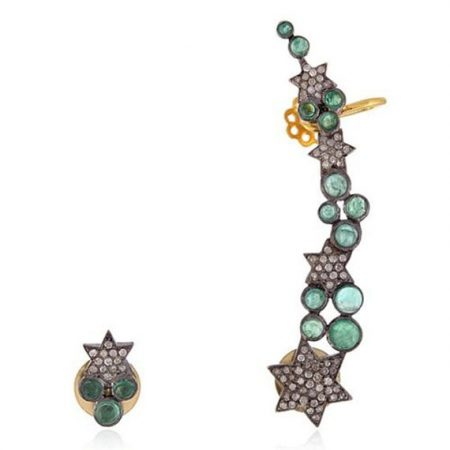 Gemstone Diamond Ear Cuff 925 Sterling Silver Designer Jewelry Cuff Earring
