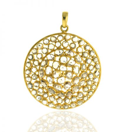 Natural Diamond 18k Yellow Gold Pendant Jewelry