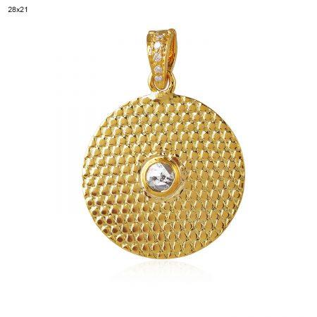 14K Solid Yellow Gold Disc Pendant Rose Cut Diamond Handmade Jewelry