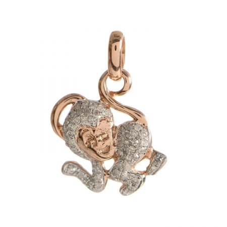 14K Solid Rose Gold Monkey Design Pendant Pave Diamond Handmade Jewelry