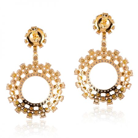 18 k Yellow Gold Natural Diamond Women Dangle Earrings Designer Jewelry