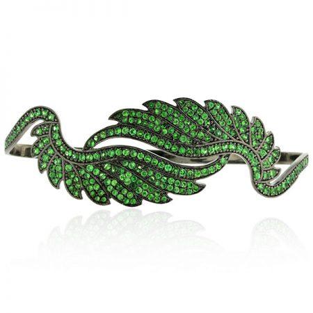 Feather Design Tsavorite Palm Bracelet Sterling Silver Designer Fashion Jewelry