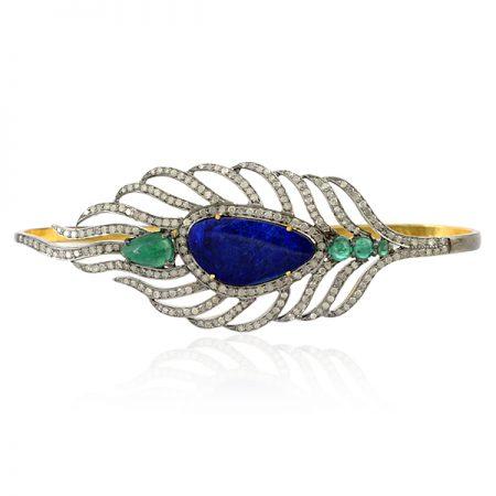 Diamond Gemstone 925 Sterling Silver Feather Style Palm Bracelet