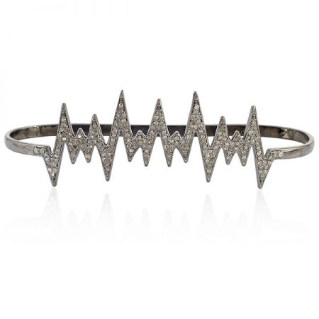 Designer Palm Bracelet Pave Diamond 925 Sterling Silver Jewelry