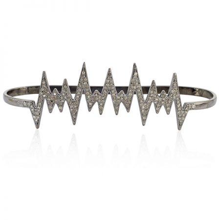 Designer Palm Bracelet Pave Diamond 925 Sterling Silver Jewelry