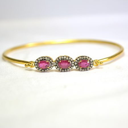 Handmade Gold Plated Ruby Gemstone Bangle, Designer Gold Plated Pave Diamond Bangle