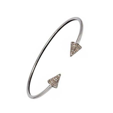 0.80 ct Natural Pave Diamond Sterling Silver Cuff Bangle Jewelry
