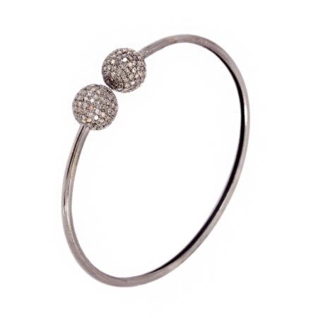 2.85ct Natural Pave Diamond 925 Sterling Silver Bangle Jewelry