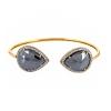 Onyx Pave Diamond .925 Sterling Silver Cuff Bangle Jewelry