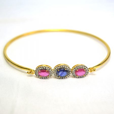 Ruby & Sapphire Gemstone Bangle, Gold Plated Ruby Sapphire Bangle, Pave Diamond Gemstone Bangle