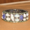 Women's Opal Gemstone Bangle. 925 Sterling Silver Pave Diamond Opal & Tanzanite Gemstone Bangle For Women's