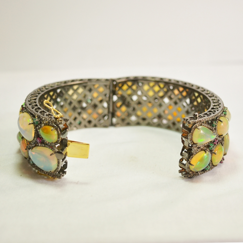 Opal Gold Bangle, Opal Gemstone Beautiful gold Bangle For Women, Sterling Silver Ruby Emerald Gemstone Diamond Bangle