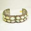 Handmade Opal Gemstone Pave Diamond Gold Bangle. 92.5 Sterling Silver Pave Diamond Opal & Ruby Gemstone Bangle