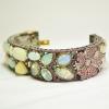 Handmade Opal Gemstone Pave Diamond Gold Bangle. 925 Sterling Silver Pave Diamond Opal & Ruby Emerald Gemstone Bangle