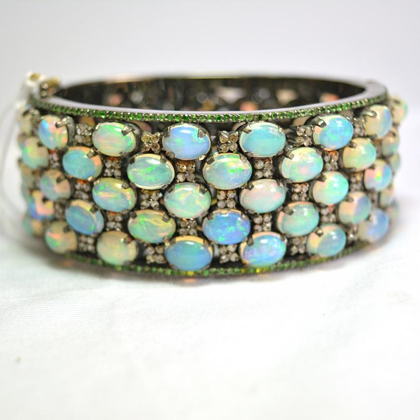 Opal Pave Diamond Gold Bangle. 925 Sterling Silver Pave Diamond Opal & Tasvorite Gemstone Bangle For Women's