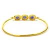 Sapphire Bangle, Gold Plated Pave Diamond Sapphire Gemstone Bangle, Women's Diamond Bangle
